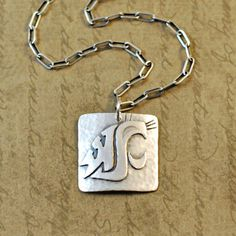 Sterling silver Cougar, Washington State University, WSU, Cougs, Wazzu, charm, necklace, pendant, sawed, soldered, oxidized, rustic, simple by bytwilight on Etsy