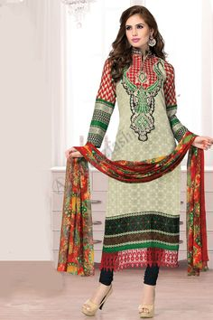 Shopping the designer Cream Cotton Churidar Suit with Dupatta now in store. Punjabi Salwar Suits, Churidar Suits, Chinese Collar, Salwar Kameez Online, Suit Fabric, Desi Clothes, Pakistani Designers, Traditional Clothes, Types Of Dresses
