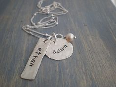 personalized sterling silver discs  hand stamped by malisaydesigns, $40.00