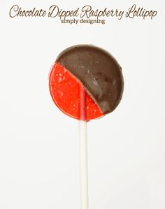 Chocolate Dipped Raspberry Lollipops | #candy #recipe #lollipop