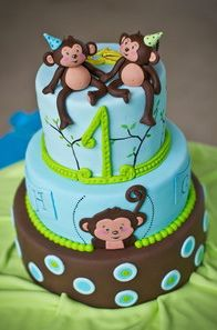 Twin monkey cake by marzipandoll, via Flickr