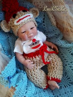 From the Paisley Kit Reborn Baby Doll 20 inch Baby Boy Finley A Little Sock Monkey Business Completed Baby