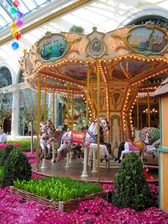 "Bellagio Flowers and Carousel. She loved ""carrieo"" horses when she was small."