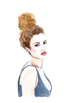 Stephanie Bertram Rose curly hair - watercolor fashion illustration