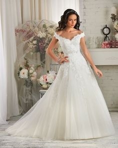 Off the Shoulder A-line Wedding Dress with a Scalloped Neckline from Bonny Bridal