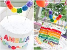 Rainbow cake with topper