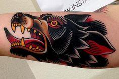 american traditional wolf | Jonathan Montalvo - wolf tattoo