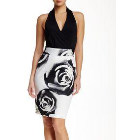 Look what I found on #zulily! Alexia Admor Black & White Midnight Rose Halter Dress by Alexia Admor #zulilyfinds