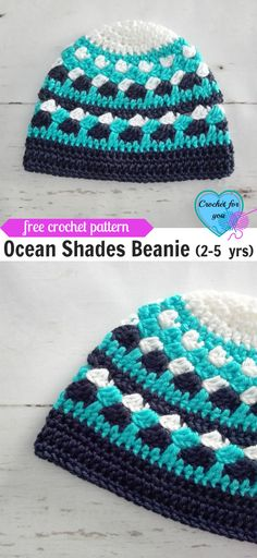 Crochet Beanie Patterns Ocean Shades Child Beanie yrs) Free Crochet Pattern - This Ocean Shades Beanie is designed for years babies using Red Heart Soft yarns. If you use Red Heart Super Saver Yarns you will get the child size. Crochet Toddler, Crochet Kids Hats, Crochet For Boys, Diy Crochet, Crochet Baby, Crochet Ideas, Crochet Designs, Crochet Patterns, Hat Patterns
