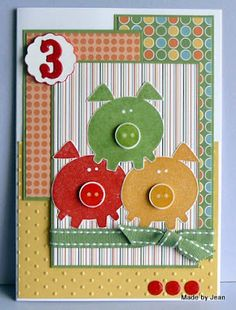 Uses SU Button Buddies stamp set. Stampin' Up! Homemade Greeting Cards, Greeting Cards Handmade, Homemade Cards, Cricut Cards, Stampin Up Cards, Scrapbooking, Scrapbook Cards, Pig Crafts, Paper Crafts