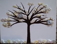 Tree in winter button art acrylic paint on by dreamingdogdesigns, $35.00