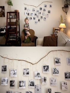 35+ Creative DIY Ways to Display Your Family Photos --> Fallen Branch Photo Wall craft #tips #photo_display