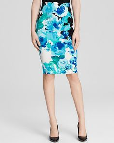 Pin for Later: You'll Definitely Want to Copy Olivia Palermo's Latest Look  Aqua Skirt in Garden Floral Pencil ($68)