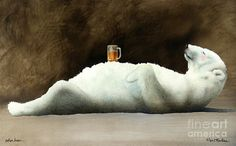 Art Print featuring the painting Polar Beer. by Will Bullas Thing 1, Cool Pets, Art Studies, Pet Portraits, All Art, Fine Art America, Giclee Print, Art Drawings, Canvas Art