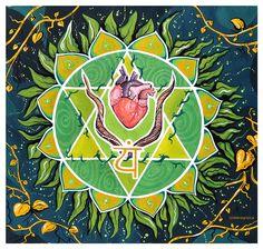 Vishuddha Chakra, Heart Illustration, Heart Chakra, Lotus, Mandala, Green, Painting, Painting Art, Paintings