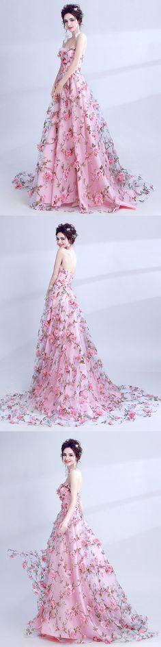 #Beautiful Prom Dress #Pink prom dress #Sweetheart prom dress #Lace prom dress #Brush Train prom dress #lace prom dress #A-line prom dress #popular prom dress #fashion prom dress