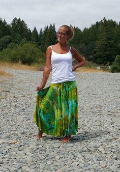 Sea aiR blUe tiE Dye MAxi skirt ice dyed skirt edm boho style bright gypsy hippie skirt for concerts or festival green tie dye by LunabeanShoppe