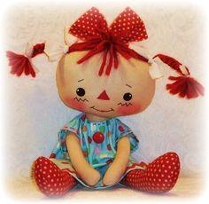Fancy PDF e-Pattern for primitive Raggedy Ann Annie Rag Doll, Cloth Doll Pattern Doll Patterns Free, Doll Sewing Patterns, Sewing Dolls, Doll Clothes Patterns, Pattern Sewing, Paper Patterns, Sewing Clothes, Raggedy Ann, Sewing Crafts