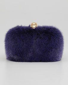 Alexander McQueen Classic Mink Fur Chain Skull-Clasp Clutch, Purple | FALL 2013