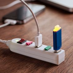 At first glance it looks like a regular power strip, but on closer inspection you can see that this is actually a USB Power Strip. It measures just 4.4 inches long, so it is easy to keep with your laptop computer, and it has 4 USB ports you can use the charge multiple items at the same time. Just like an ordinary power strip, this one has an on/off switch so you can turn off all the ports at once.