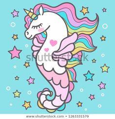 Beautiful Seahorse Among Stars Unicorn Design Stock Vector (Royalty Free) 1263331579 Unicornios Wallpaper, Mermaid Clipart, Unicorn Pictures, Unicorn Images, Cupcake Drawing, Mermaid Drawings, Cute Kawaii Drawings, Unicorns And Mermaids, Cute Mermaid
