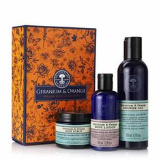 Lifts the spirits while nourishing and nurturing the skin. The warmth of the Italian sun radiates from our energising organic sweet orange essential oil, while the floral notes of our South African organic geraniums bring balance and calm. Together they leave your skin delicately scented and gorgeously glowing. Contents:mGeranium & Orange Shower Gel 200ml,  Geranium & Orange Body Lotion 100ml, Geranium & Orange Body Scrub 50g. $38