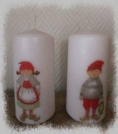 Lys med servietter Pillar Candles, Decoupage, Lily, Candles