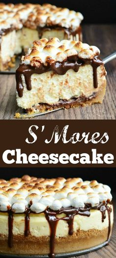- Amazing S'Mores Cheesecake. Smooth cheesecake made with a layer of chocolate a… Amazing S'Mores Cheesecake. Smooth cheesecake made with a layer of chocolate and marshmallows on the bottom and topped with hot fudge sauce and toasted marshmallows. Mini Desserts, Just Desserts, Delicious Desserts, Yummy Food, Amazing Dessert Recipes, Health Desserts, Smores Cheesecake Recipe, Cheesecake Squares, Banana Cheesecake
