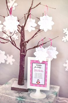 Baby Shower Wishing Tree - Snowflake Wishes for Baby