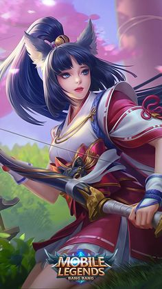 ML Wallpaper - Miya Suzuhime Heroes Marksman of Skins Twilight Pass Mobile Legend Wallpaper, Hero Wallpaper, Fantasy Heroes, Fantasy Warrior, Bang Bang, Mobiles, Miya Mobile Legends, Alucard Mobile Legends, Character Art