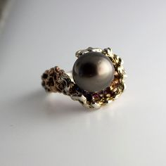 Saltwater Pearl,Saltwater Pearl,Gold Ring,Pearl Ring,Tahitian Pearl,Silver Ring,Engagement Ring,Handmade Ring,White Pearl Ring, Bridal Ring by FutureArtJewelry on Etsy