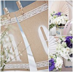 Spray paint letters on paper adorned with lace edges, on a cute clothesline!
