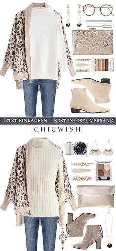 Cute Simple Outfits, Stylish Outfits, Leopard Cardigan, Knit Cardigan, Fashion Wear, Fashion Outfits, Classy Fashion, Mode Outfits, Winter Outfits