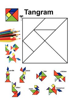 Math for kids - Tangram pattern activities worksheet, patterns activity Montessori Activities, Preschool Activities, Math Art, Math For Kids, Teaching Math, Maths, Math Games, Pattern Blocks, Math Lessons