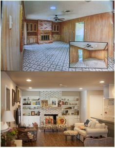 Before and After Photos of the living, kitchen and dining rooms...these are insane!  Amazing what paint (and ripping up floors/walls/etc) can do. :)