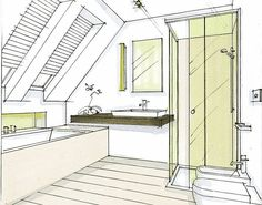 Healthy living images clipart black and white: Loft Bathroom, Bathroom Layout, Dream Bathrooms, Small Bathroom, Attic Master Bedroom, Bedroom With Bath, Attic Loft, Loft Room, Bad Inspiration