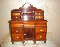 Superb antique 19th century miniature desk fro fashion doll