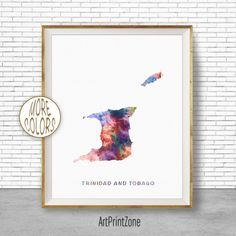 Trinidad and Tobago Art Office Art Print Watercolor Map Print, Map Art Map Artwork Office Decorations, Country Map, Art Print Zone