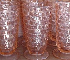 Pattern: Cubist Depression Glass   (Also Known As Cube),   Manufacturer: Jeannette Glass Company