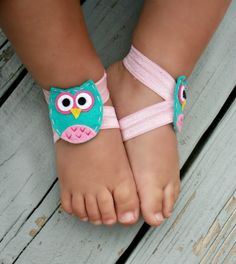 Baby Barefoot Sandals .. Owl Feltie .. by LovelyLiliesBoutique, $6.50