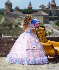 Colorful puffy ball gown flower girl dress for party flowers feather o neck girls pageant dress birthday gown Baby Girl Party Dresses, Girls Pageant Dresses, Wedding Dresses For Girls, Dresses Kids Girl, Birthday Dresses, Blue Flower Dress, Pink And Blue Flowers, Pink Dress, Flower Girl Dresses
