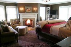 Cozy Bedroom with Fireplace