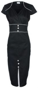 STUNNING BLACK VINTAGE 1940's 1950's PINUP PENCIL WIGGLE DRESS
