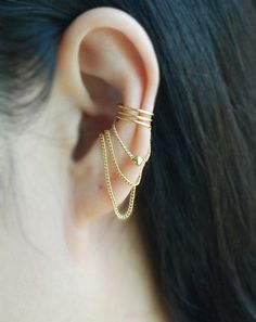 3 band with Chain & ball Ear cuff, Ear Jacket, Ear Wrap,No Piercing Cartilage Ear Cuff by TakeOnMe7 on Etsy