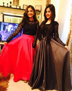 I love Anushka Sen & Jannat Zubair love u so much Outfits Teenager Mädchen, Teen Girl Outfits, Kurta Designs, Designer Gowns, Indian Designer Wear, Indian Dresses, Indian Outfits, Latest Gown Design, Dresses For Teens