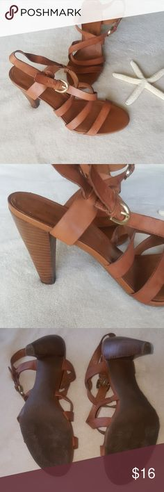 Cognac Strappy Leather Heels Wooden like heel. Criss cross straps with adjustable buckle. Excellent used condition, only worn 2-3x. Franco Sarto Shoes Heels