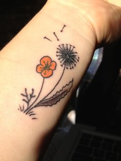 My latest tattoo! A Dandelion and a California Poppy!