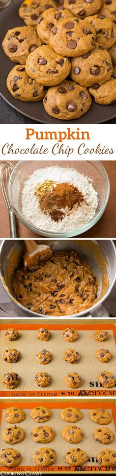 Pumpkin Chocolate Chip Cookies - just like the ones Grandma made! They are the BEST, one of my favorite fall cookies! Soft and cakey and loaded with chocolate chips and spices. A must have fall recipe!