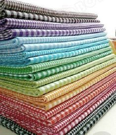 Cotton Gingham Checks Fabric Cloth  Rainbow Red Blue by RetroNaNa, $27.00