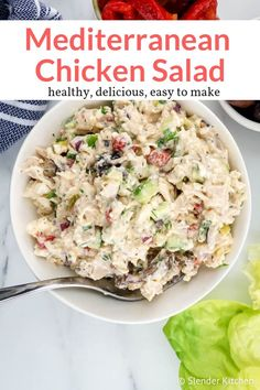 Mediterranean Chicken Salad - Slender Kitchen - - The best Mediterranean inspired healthy chicken salad with black olives, feta cheese, cucumbers, roasted red peppers, and dill in a creamy Greek yogurt dressing. Easy and delicious. Easy Mediterranean Diet Recipes, Mediterranean Dishes, Mediterranean Chicken Salad Recipe, Mediterranean Diet Breakfast, Chicken Salad Recipes, Healthy Chicken, Salad Chicken, Weight Watchers Chicken Salad Recipe, Low Carb Chicken Salad